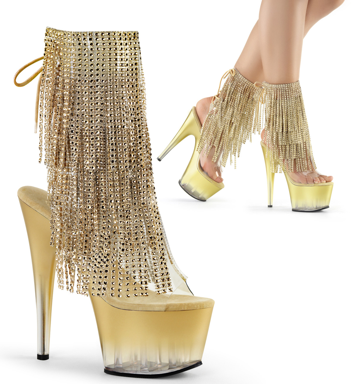 Gold Chrome Platform Heel Diamante Embellished Party Ankle Boots