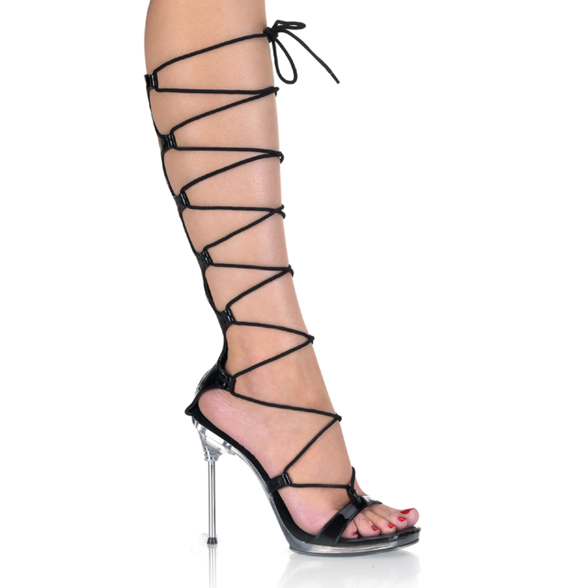 PLEASERs 4 1/2 inch Stiletto Heel Lace-Up Mini-Platform Sandal Black Patent /Clear at Sears.com