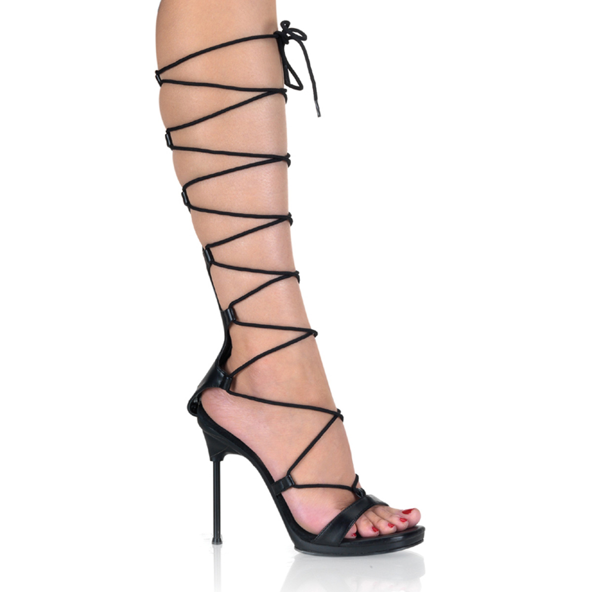 PLEASERs 4 1/2 inch Stiletto Heel Lace-Up Mini-Platform Sandal Black Faux Leather/Black at Sears.com