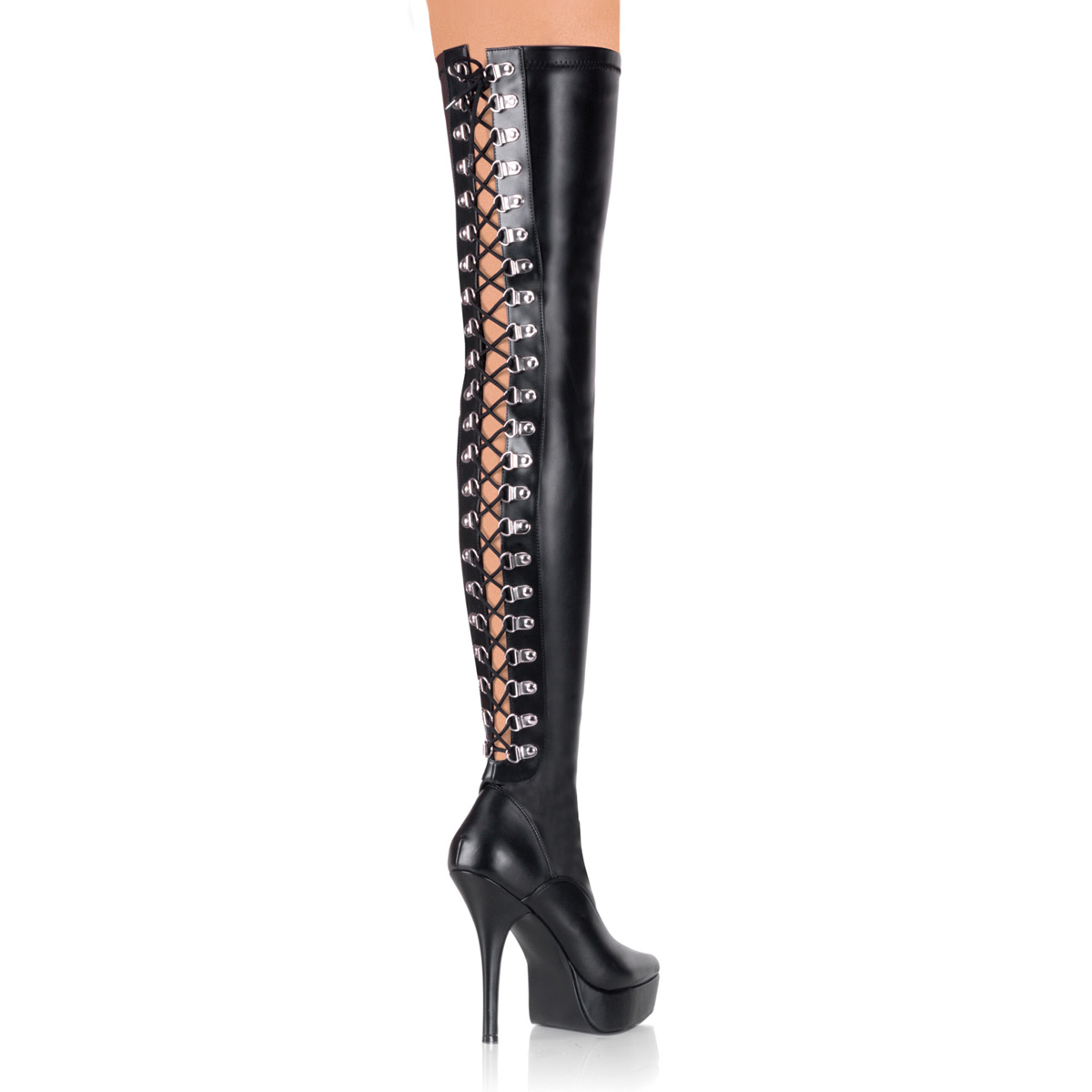 PLEASERs 5 1/4 inch Back Lace-Up Stretch Platform Thigh Boot Black Stretch Faux Leather at Sears.com