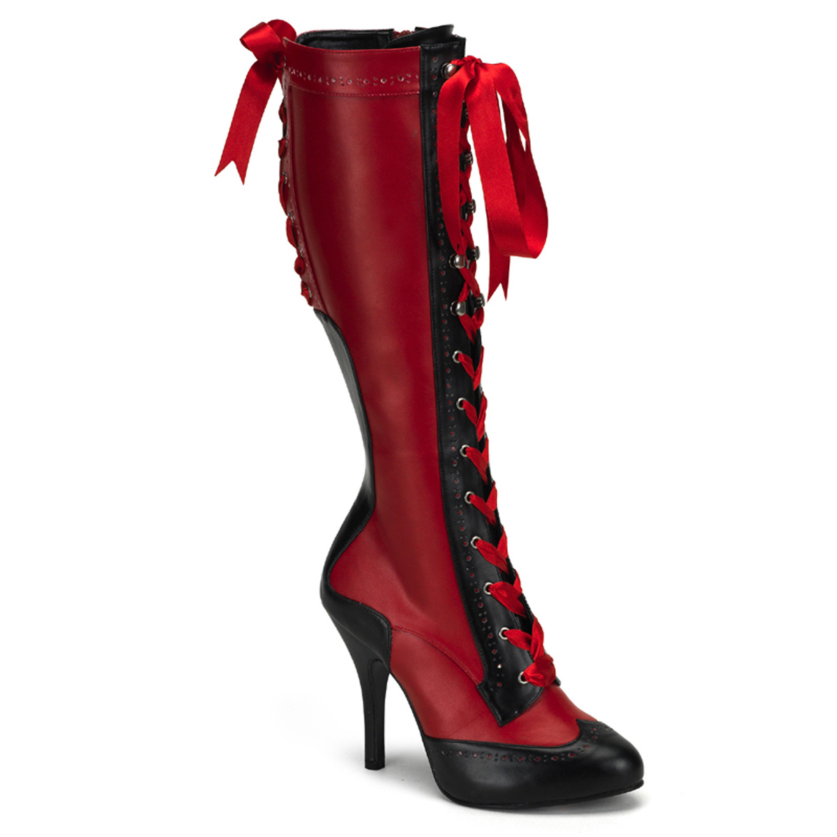 PLEASERs 4 1/2 inch Heel Ribbon Lace Up Knee Boot with Concealed Platform Red-Black Faux Leather at Sears.com