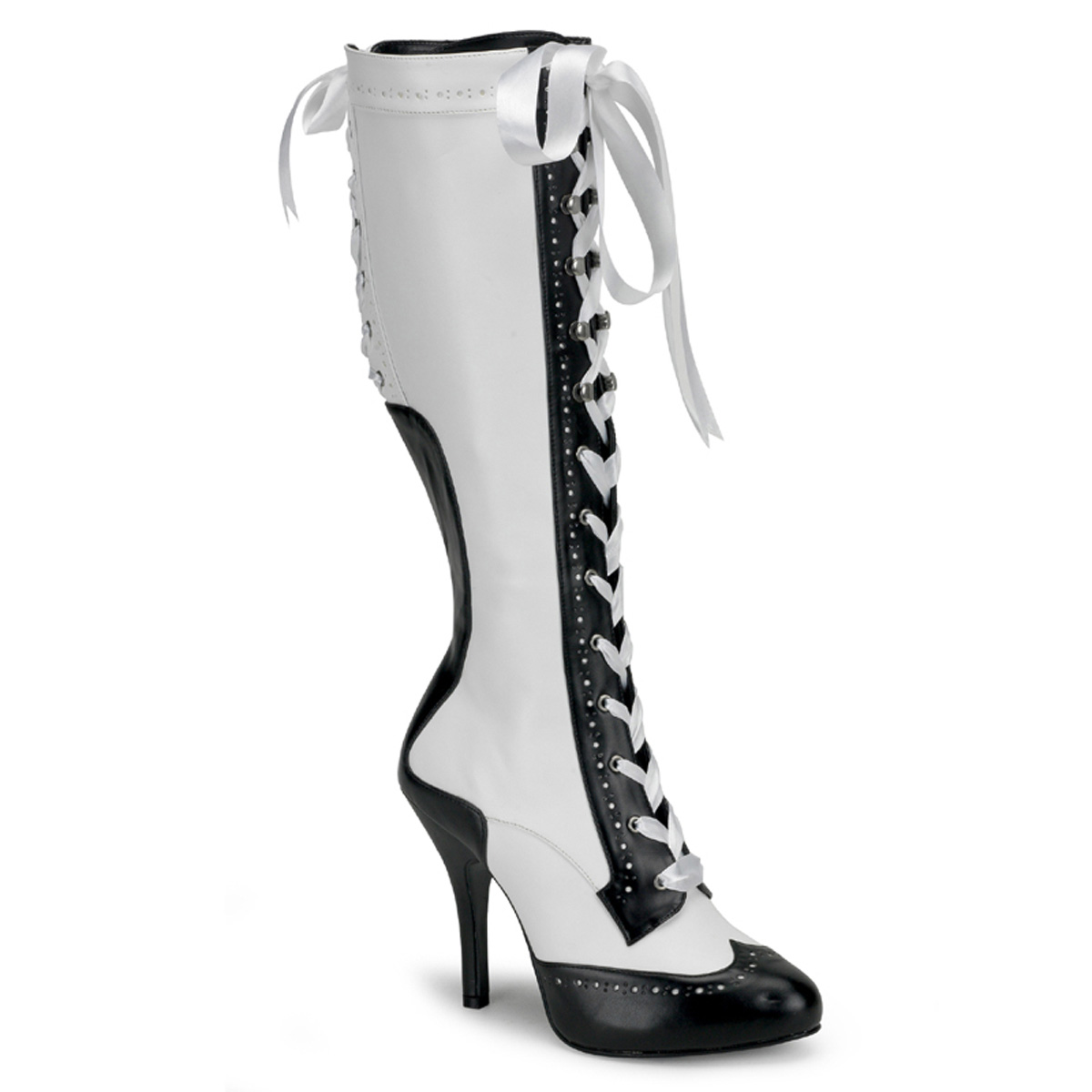 PLEASERs 4 1/2 inch Heel Ribbon Lace Up Knee Boot with Concealed Platform White-Black Faux Leather at Sears.com