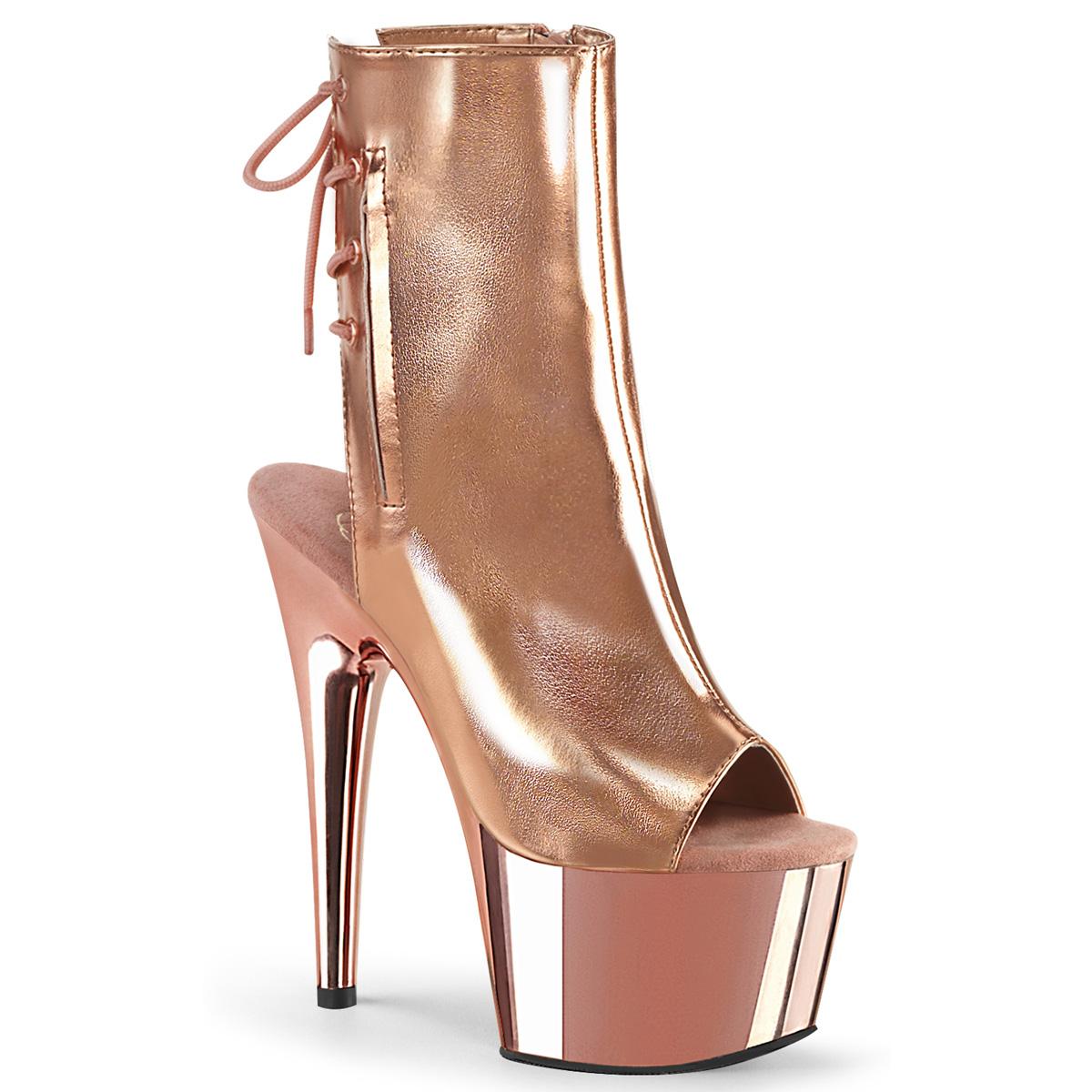 "7/"" Black Suede Lace Up Heels Platform Stripper Dancer Boots Pleaser Adore-1018"