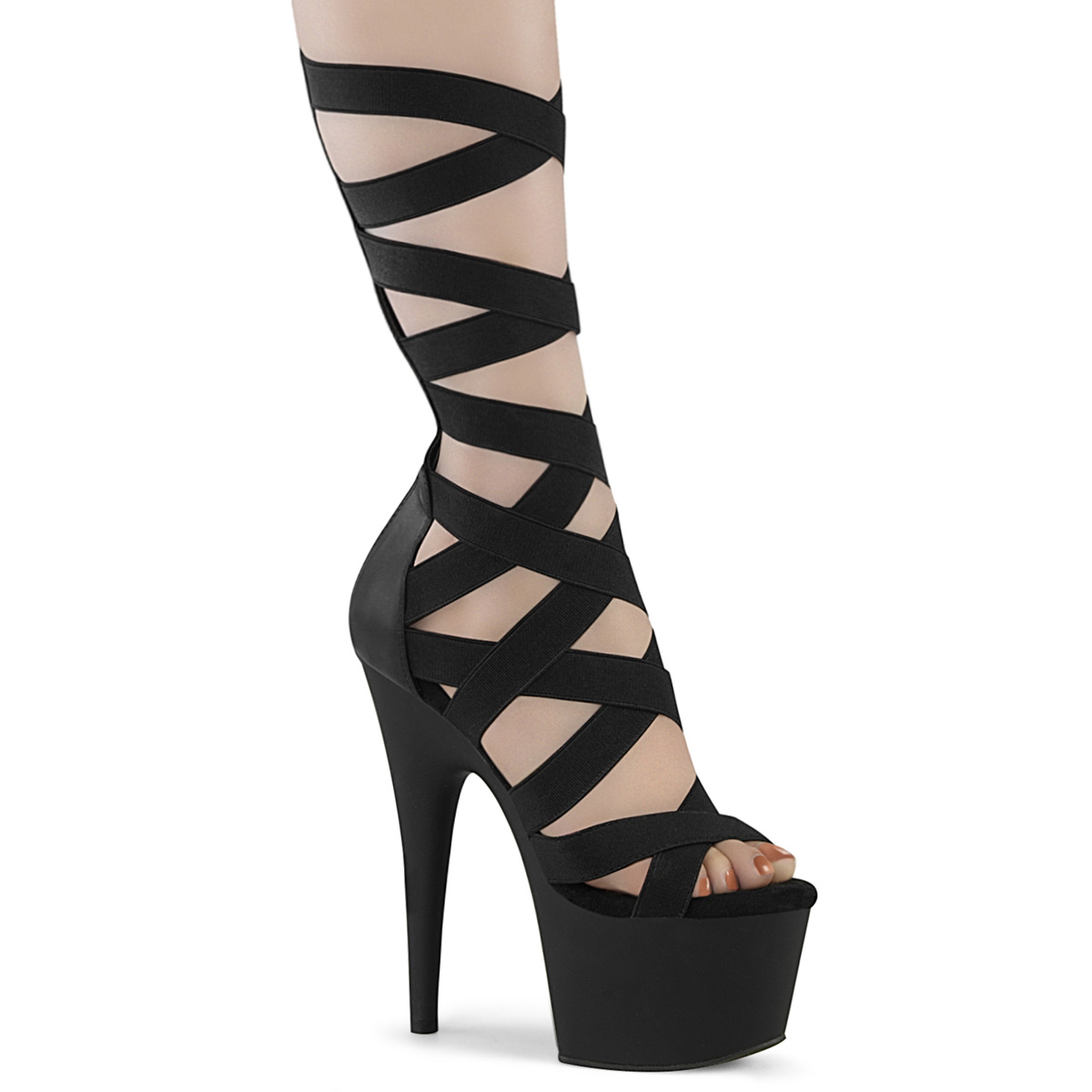 6 Heel, 1 3/4 PF Strappy T-Strap Close Back Sandal