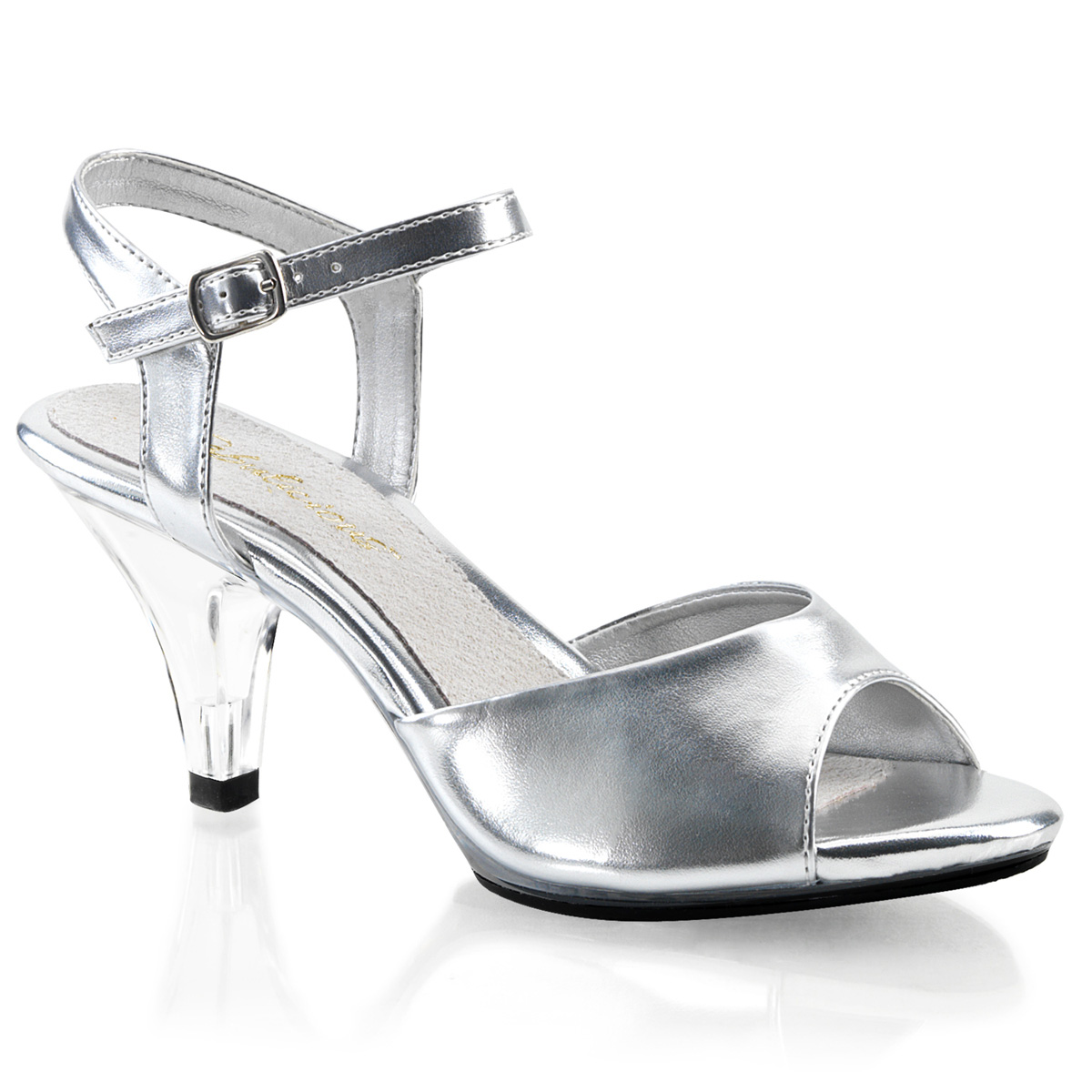 """Pleaser's Fabulicious Belle-309 Women's Silver And Clear 3"""" High Heels Classic Basic Ankle Strap Sandals Open Toe Shoes at Sears.com"""