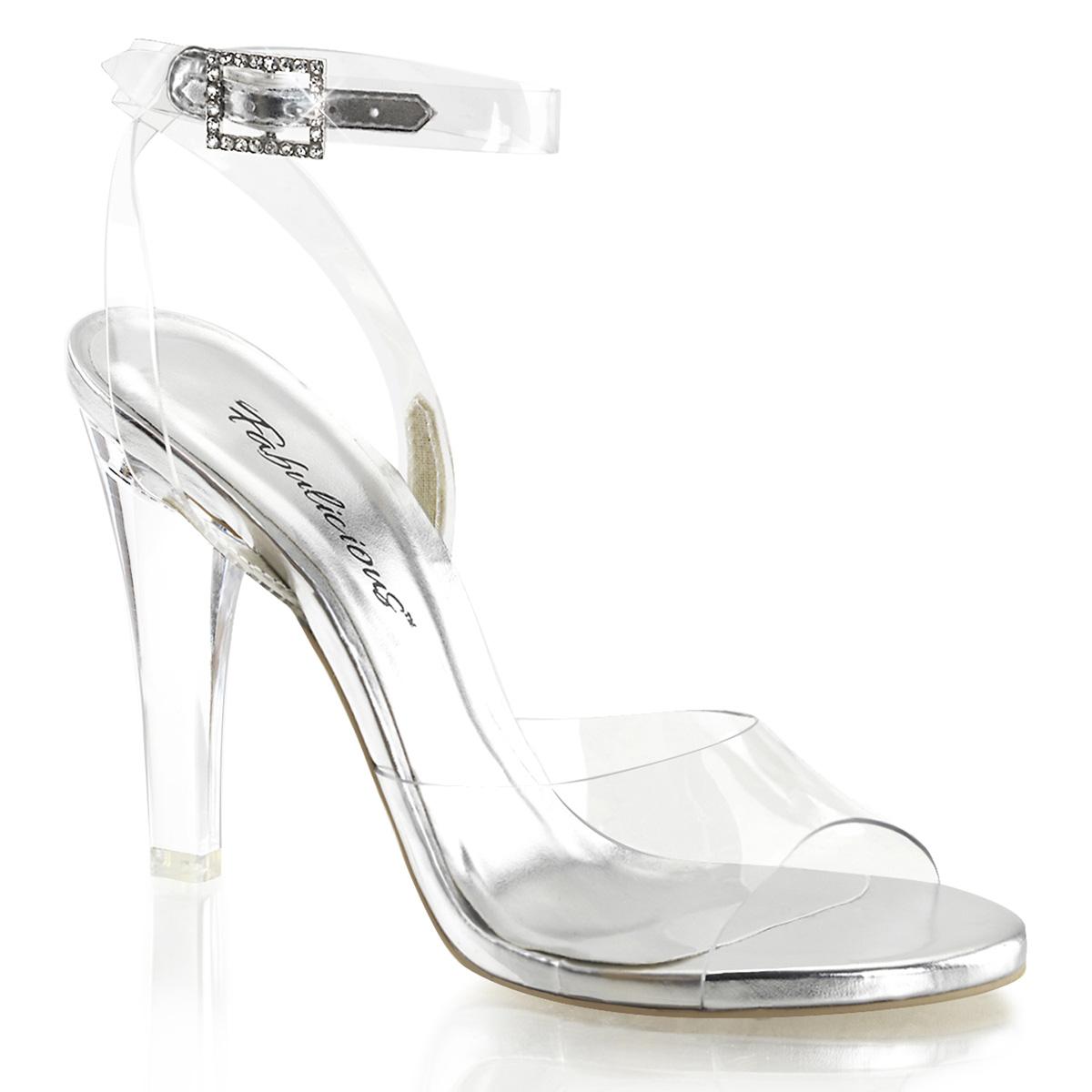 "Pleaser Fabulicious 4 1//2/"" Heel 1/"" Ankle Strap Sandal W// RS Women ELEG408//C//GCH"